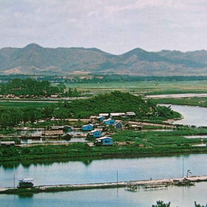 Shum-Chun (or Sham Chun) River viewed from a hill at Lukmachow